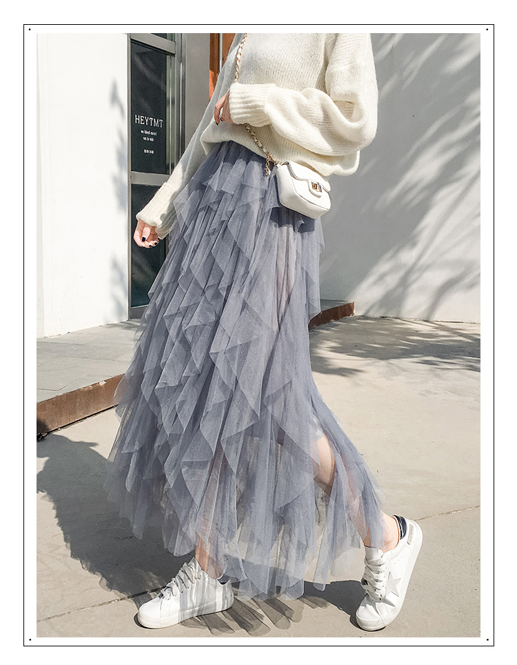Women irregular Tulle Skirts Fashion Elastic High Waist Mesh Tutu Skirt Pleated Long Skirts Midi Skirt Saias Faldas Jupe Femmle 51