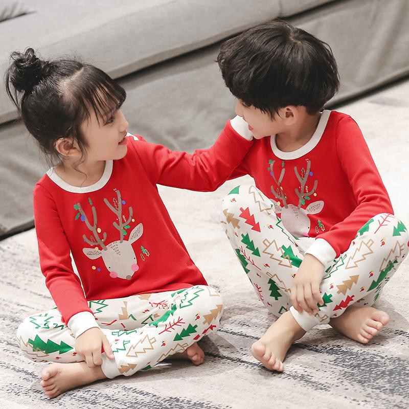 2019 Winter Children Christmas Pajamas Boys Cotton Nightwear Baby Girl Clothes Suit Cartoon Pyjamas Kids Pijama Infantil Teenage
