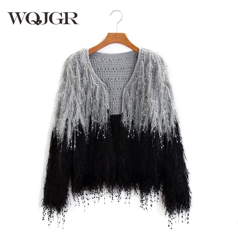 WQJGR Autumn And Winter Christmas Sweater Black And White Spelling Color Knitting Loose Coat Easy Cardigan Sweater Woman