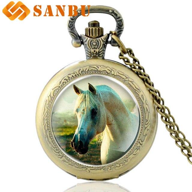 Retro Bronze Horse Quartz Pocket Watch Vintage Men Women Animal Pendant Necklace