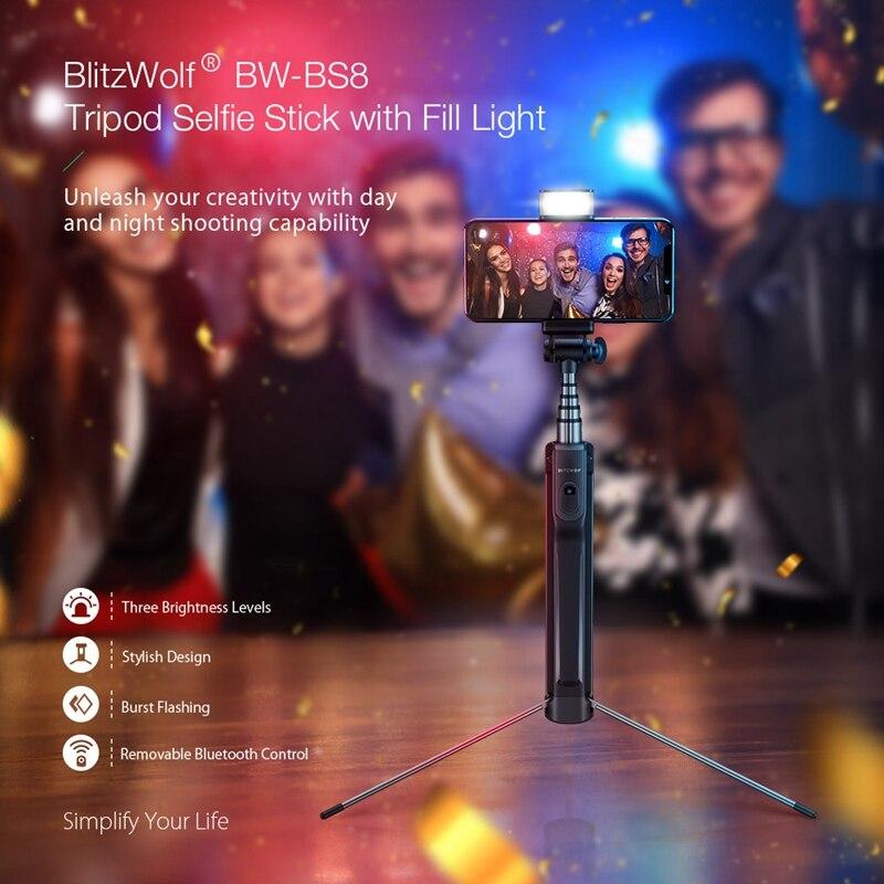 Blitzwolf BW-BS8 Extendable bluetooth Tripod Selfie Stick With LED Fill Light