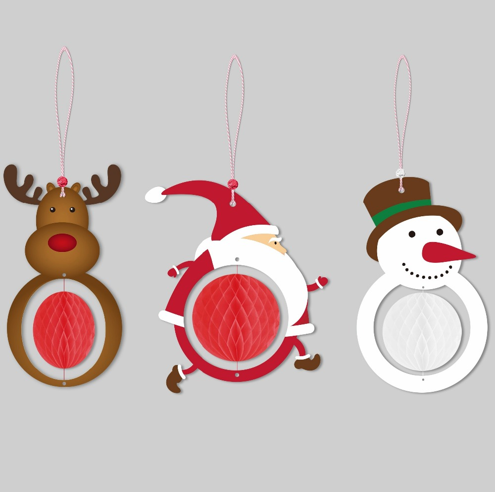 9pcs Christmas Decoration The Santa Claus/Snowman/Deer Honeycombs Trees  Ornaments Hanging Paper Party Home Supplies Christmas In Pendant U0026 Drop  Ornaments ...