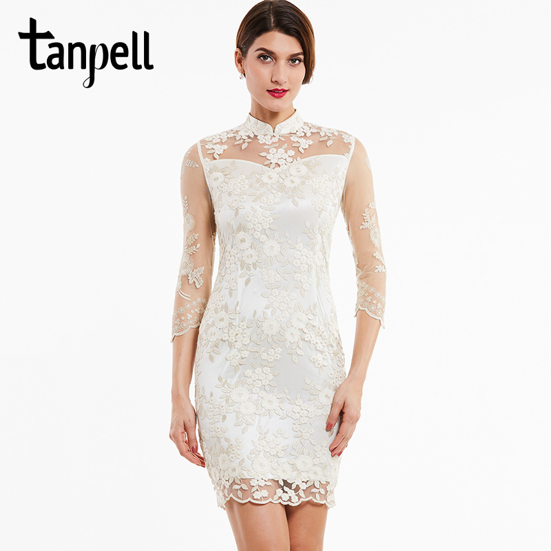 Tanpell high neck cocktail dress ivory appliques lace knee length straight gown women 3/4 sleeves evening short cocktail dresses