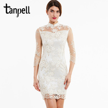 Tanpell high neck cocktail dress ivory appliques lace knee length a line gown women 3/4 sleeves evening short dresses