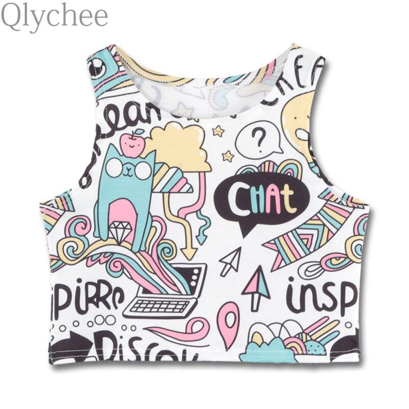 Qlychee Cartoon Cats Letter Printed Bare Midriff Vest Summer Slim Sleeveless Cartoon Cats Leeter Printed Bare Midriff Vest