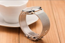 Silver Casual Geneva Quartz Watch Women Metal Mesh Stainless Steel Dress Watches
