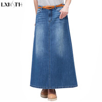 LXMSTH Long Denim Skirt Women Korean Vintage High Waist Vintage Jeans Skirt Faldas Mujer 2017 Pocket