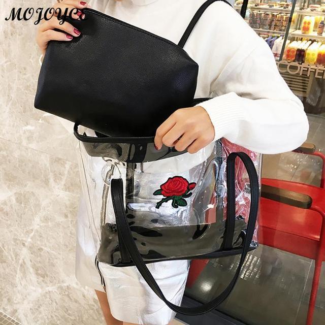 2018 Vintage Transparent Bags Women Handbag Large Jelly Bag Shoulder Crossbody Female Purse And