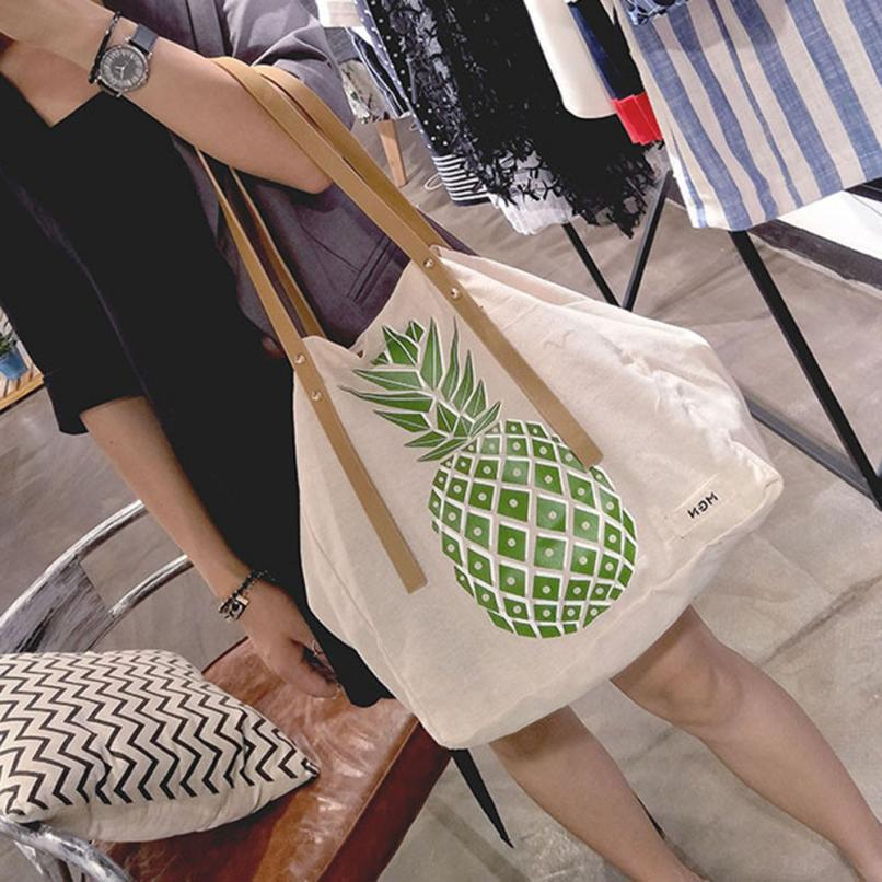 Women Canvas Pineapple Handbag Lady Large Capacity Clutch Tote Bag Top-handle Shoulder Bag Purse Casual Bag Drop Shipping #T naivety new canvas red dandelion pattern lady shopping shoulder handbag woman tote bag jul13 drop shipping