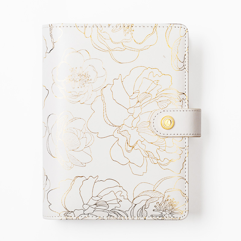 Lovedoki Foil Golden Floral Notebook and journals Daily book A5A6 Planner traveler's notebook stationery store school supplies fromthenon 365 notebooks and journals faux leather cover personal daily monthly weekly planner kawaii stationery school supplies