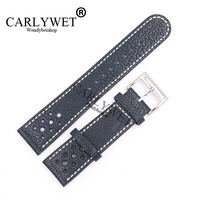 CARLYWET 22mm Wholesale Dark Blue Real Leather Handmade Replacement Thick Vintage Wrist Watch Band Strap For