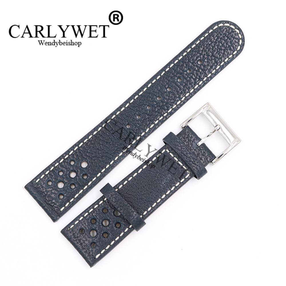 CARLYWET 22mm Wholesale Dark Blue Real Leather Handmade Replacement Thick Vintage Wrist Watch Band Strap For CITIZEN Omega Mido eache silicone watch band strap replacement watch band can fit for swatch 17mm 19mm men women