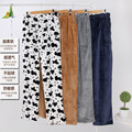 sleep bottoms thick flannel pajama pants male ladies winter coral fleece color leisure trousers Home Furnishing warm pants