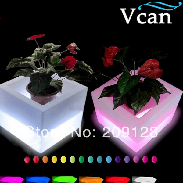 2016 New Waterproof Plastic Colors Change LED Flower Pot  in hourse garden outdoor  V V-E005 promoting social change in the arab gulf