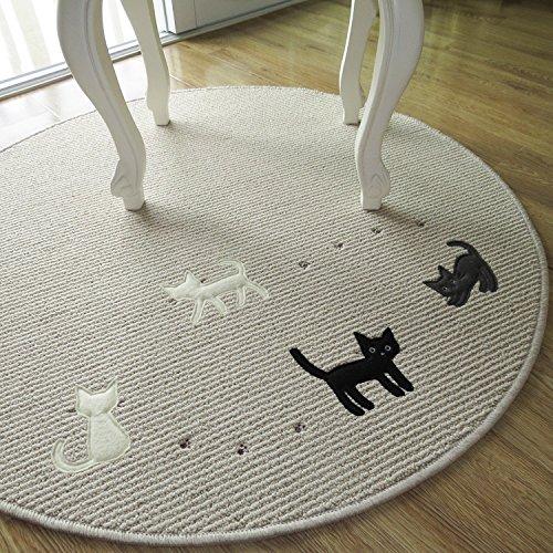 Cute Little Cat Print Korean Table Mat,Designer Kids Area Rug,Elegant Round  Rugs
