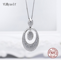 Solid 925 Sterling Silver Luxury Pendant Women's Necklace Fine Jewelry Oval Real Silver Suspension Elegant Jewellery Statement