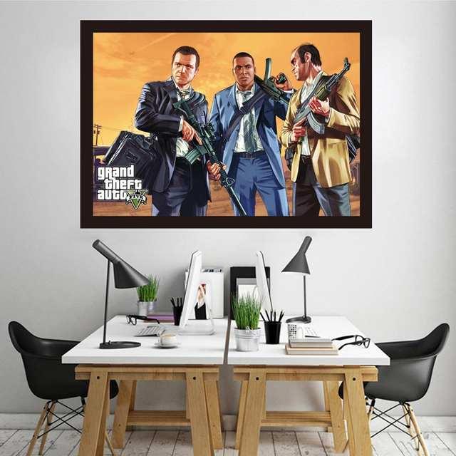 Grand Theft Auto 5 Wall Canvas Prints Gta5 세 형제 Michael