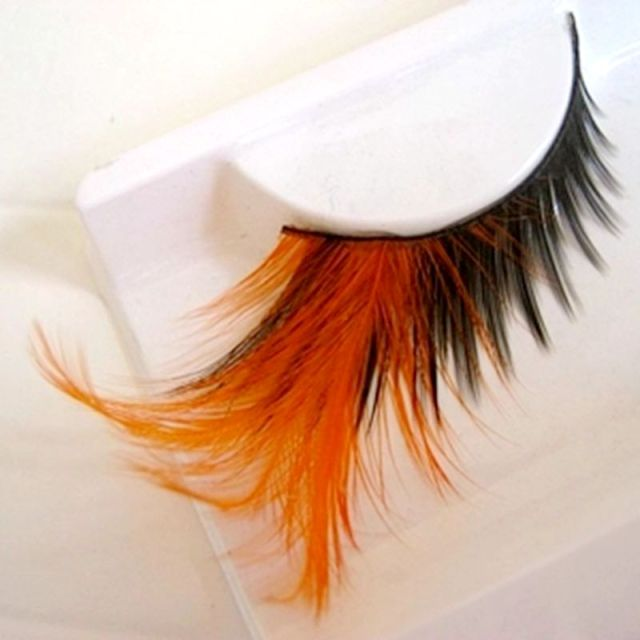 3d05a22872b Orange False Eyelashes Pure Handmade Cotton Stalk Makeup Fake Eyelashes  Color Feather Eyelashes Winged Exaggerated Soft