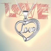 Women's Fashion 925 Sterling Silver Plate Heart Pendant Necklace Jewelry Love