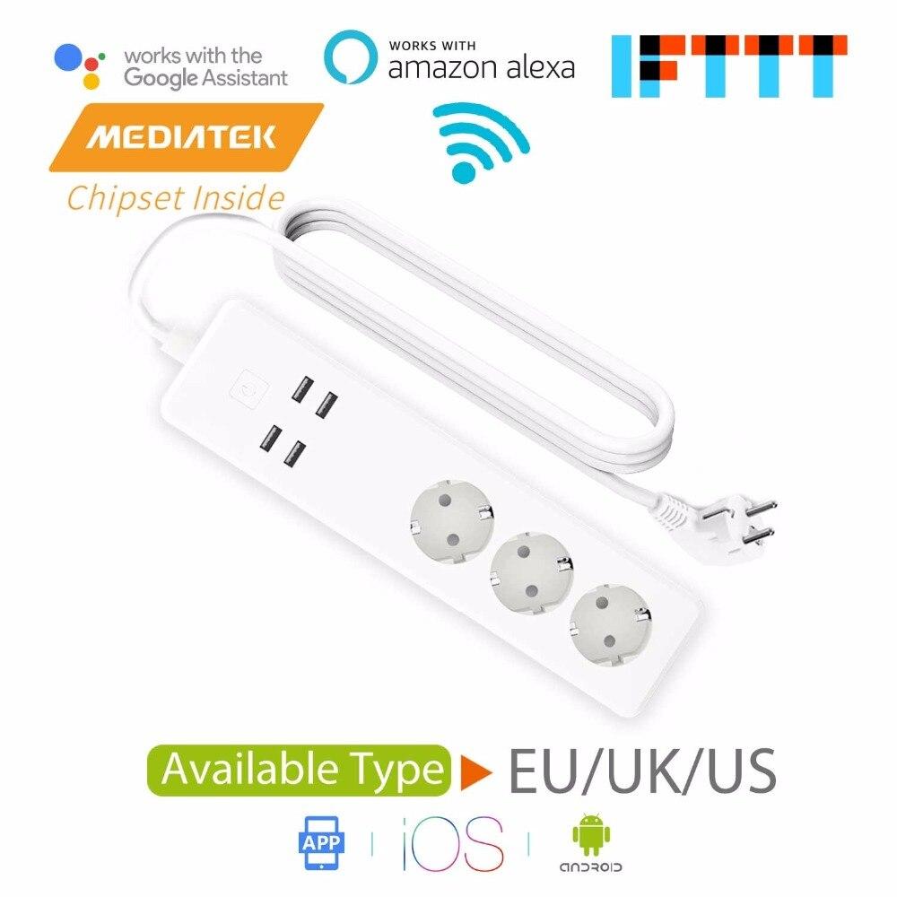 WiFi Smart Protector contra sobretensiones, Amazon Alexa y Google asistente & IFTTT compatible, App Control remoto Meross MSS425E