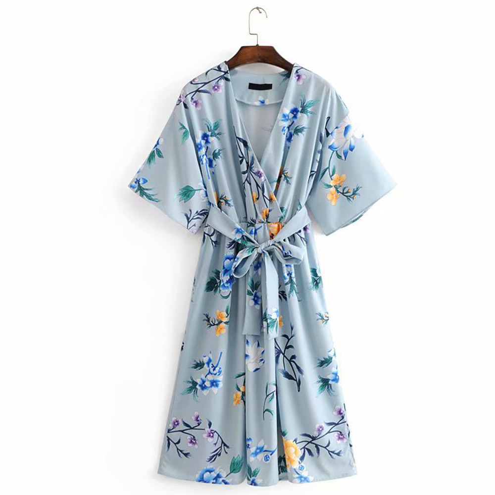 FIRSTTO Chic Cross V-Neck Blue Floral Print Bow Tied Sashes With Belt Waist Vinage Bat Sleeve Mid-Length Sexy Women A-Line Dress
