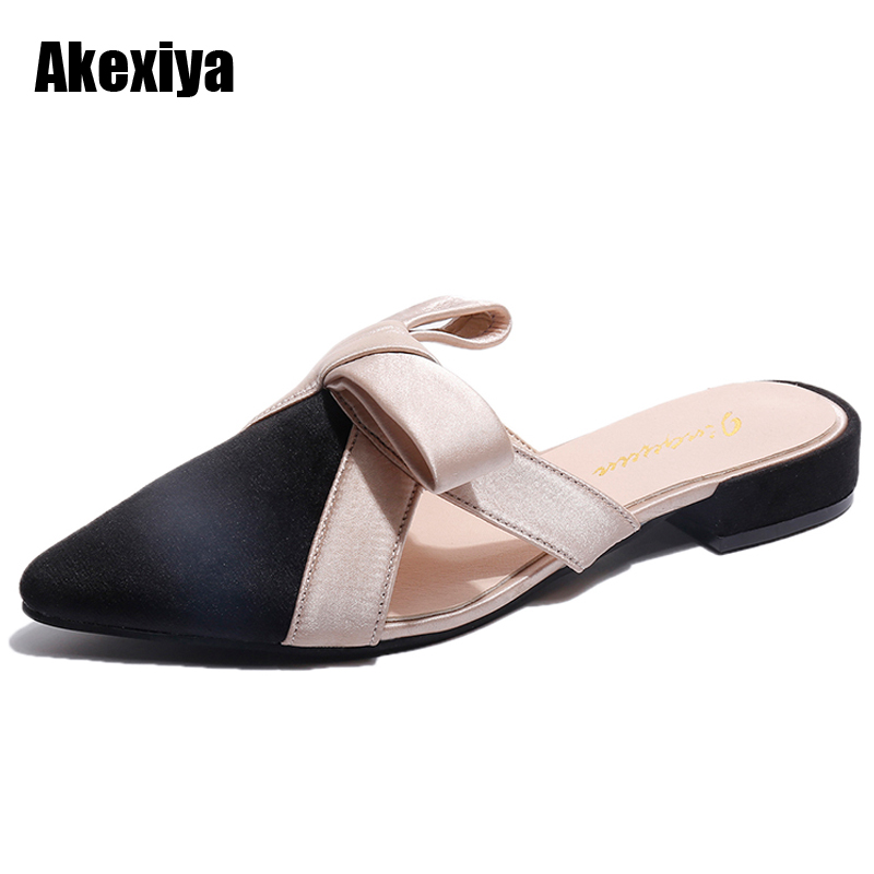 Women Sandals Pointed toe Slippers Women Butterfly-knot Mules Shoes Woman Low Square heel Summer Slides Outside Slippers M630 xiaying smile summer woman sandals square heel women slippers slides shoes women pumps fashion casual bling crystal women shoes