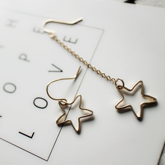 S925 Sterling Silvery Earrings Female Temperament Hollow Out Stars Asymmetric