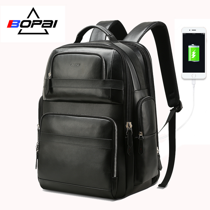BOPAI Genuine Leather Backpack Multifunction USB Charge Anti theft Laptop Bag 15.6 inch Mens Travel