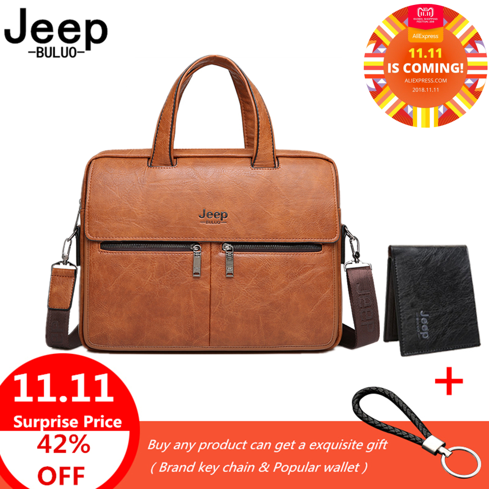 все цены на JEEP BRAND Men Bags Business Briefcase Bag For 14 inches Laptop A4 Male Bag Cow Split Leather High Quality Travel Bags Handbags