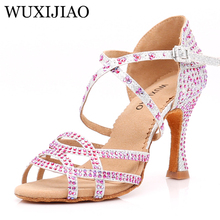 цены на WUXIJIAO Dance Shoes Latin Woman Salsa Silk Satin Dancing Shoes Glitter Rhinestone Professional Dance Shoes Ballroom Soft Bottom  в интернет-магазинах