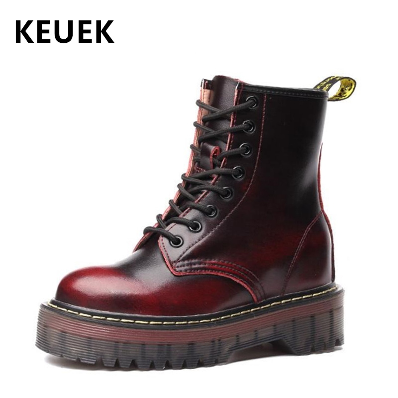 New Arrival Women shoes Height Increasing boots Genuine leather Motorcycle boots Fashion Vintage Snow boots 02A