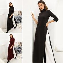 Women Dress Ao Dai Style Maxi Turtle Neck 3/4 Sleeve Loose Elegant Slit Casual Fashion Tunic