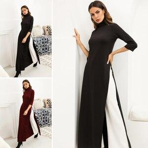 Image 1 - Women Dress Ao Dai Style Maxi Turtle Neck 3/4 Sleeve Loose Elegant Slit Casual Fashion Tunic