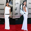 Vestido blanco Celebrity Red Carpet Vaina Palabra de Longitud de Las Mujeres Vestidos Formales de Un Hombro Vestidos Sexy