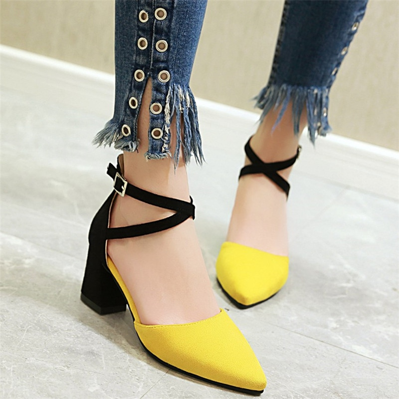 MORAZORA 2019 Hot sale square high heels women sandals pointed toe summer female shoes mixed color party wedding shoes drop ship