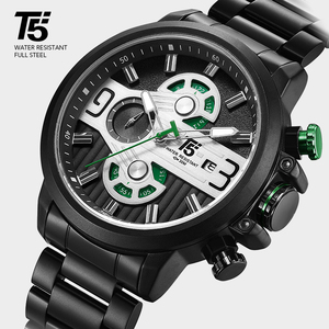 Image 5 - Rose Goud Zwart Quartz Chronograaf T5 Mannen Horloge Waterdicht Heren Horloges Topmerk Luxe Sport Man Horloge