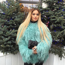 "Women""s Luxury Real Lamb Fur Coats and jackets Fall /  Winter  natural Beach sheep Fur coats outerwear female Fur coats"