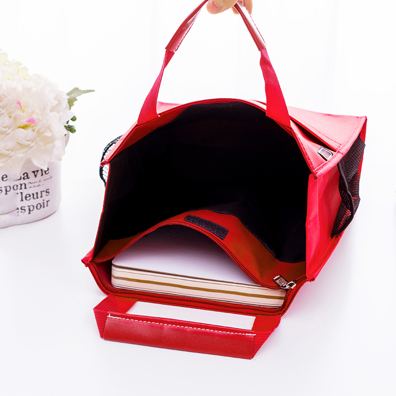 Image 3 - 4 colors Portable file bag A4 Student textbook data File pocket Multifunctional waterproof portable office file bag Canvas bagFile Folder   -