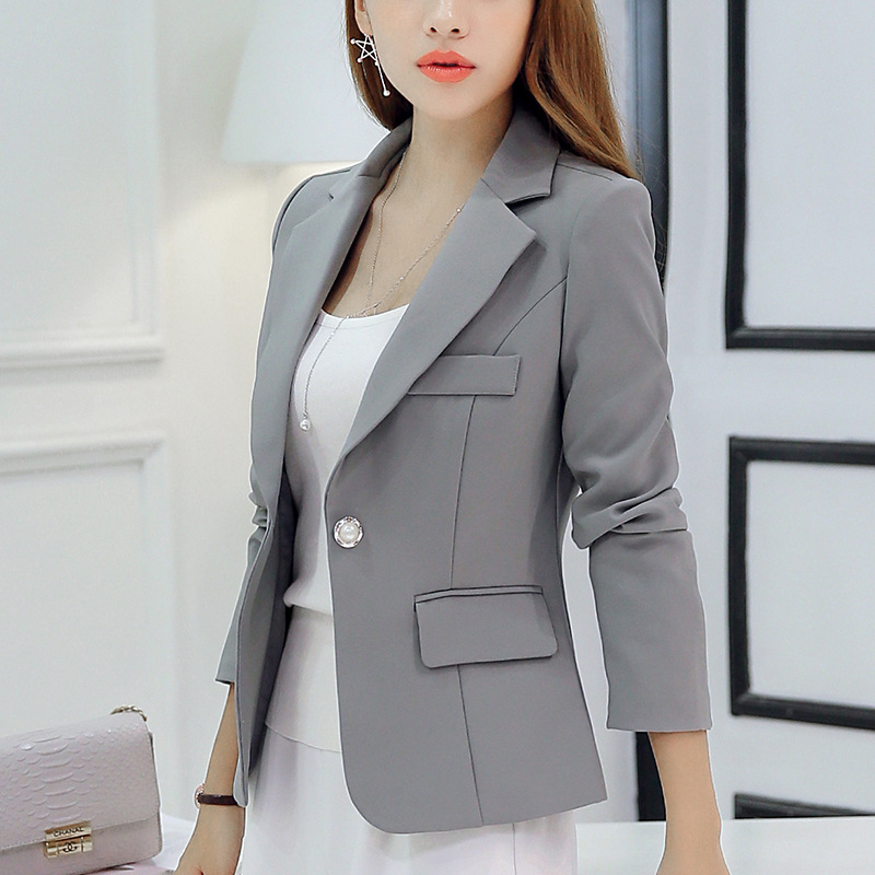 Spring Women Blazer Jackets Slim Long Sleeve Pocket One Button Formal Office Ladies Blazer Coat Femme Blazer Suit WDC1889(China)