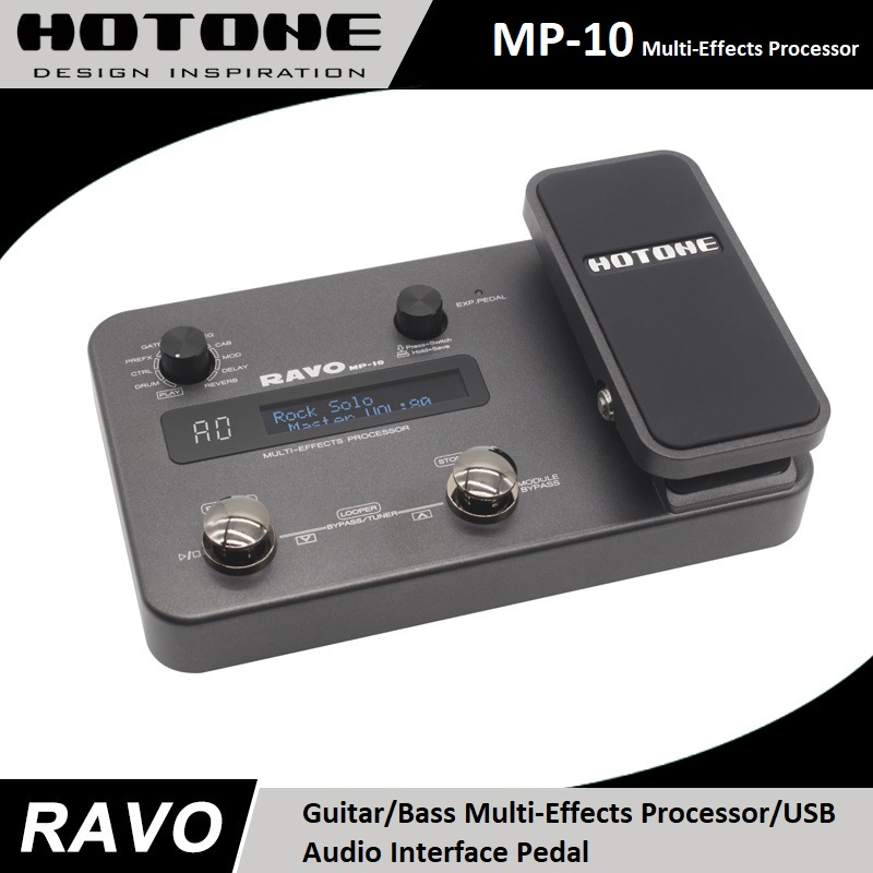 Hotone RAVO MP-10 Chitarra/Basso Multi-Effects Processor/Interfaccia Audio USB, integrato Drum Machine, 30 Secondi di Looper