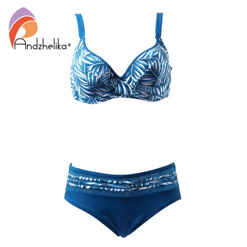 Andzhelika Bikini Donne Costume Da Bagno Estate 2018 Stampa Grande Tazza Bikini Set Plus Size Swimwear Sexy Della Maglia Costume Da Bagno Biquini XL