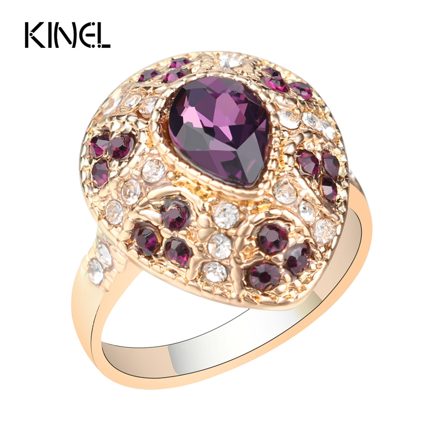Glamour Women Jewelry Water Drop Multicolour Crystal Rings ... Jewellery Rings For Women