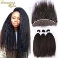 7A brasileiro virgem cabelo Kinky hetero Lace Frontal com Bundles Yaki italiana grossa cabelo 4 peças/lote 100% cabelo humano tece