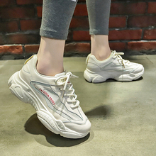 Купить с кэшбэком 2019 Fashion Women Chunky Sneakers Women Platform Shoes Lace Up Sport Leisure Vulcanize Shoes Women's Female Trainers Dad Shoes