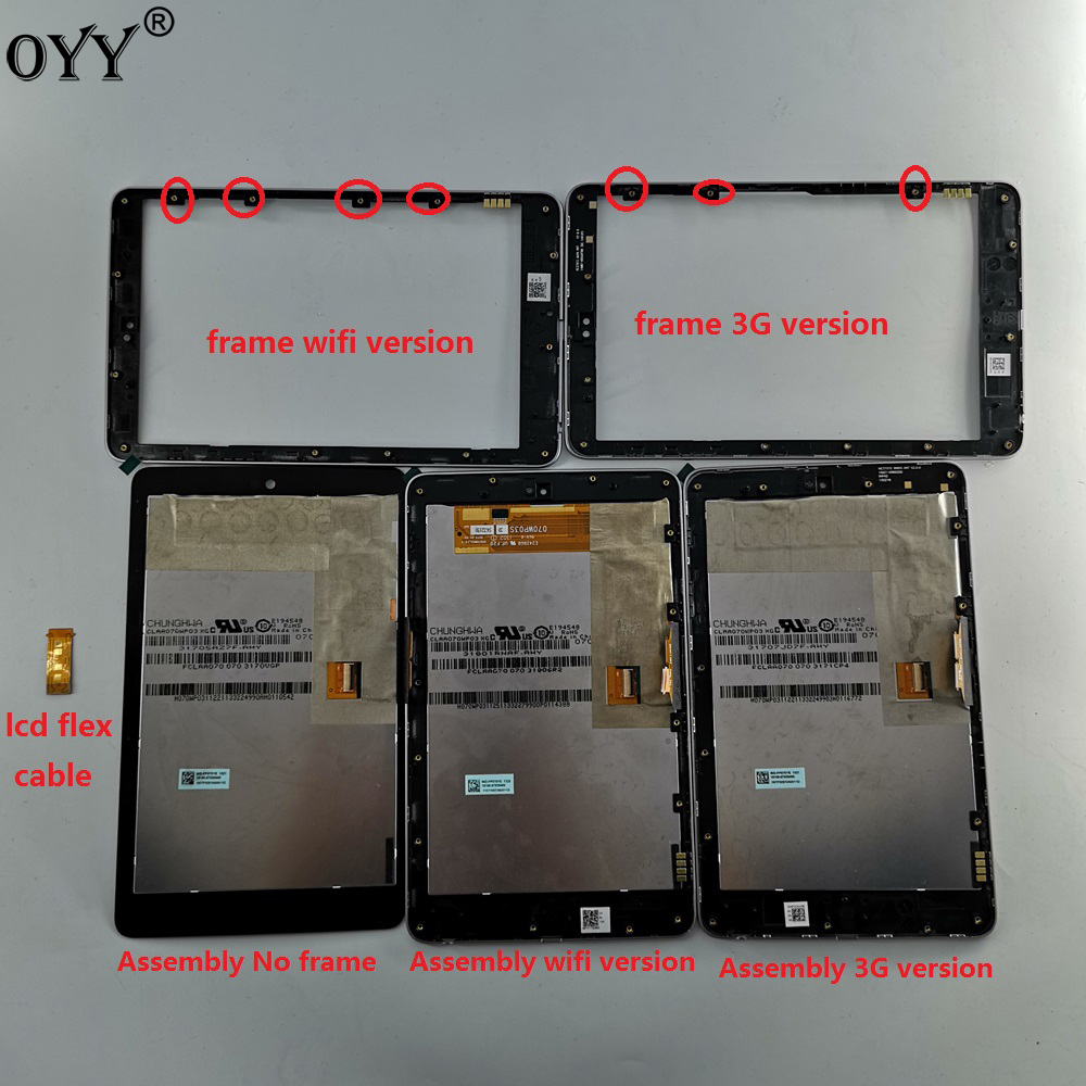 LCD Display + Touch Digitizer Screen Assembly With Frame Flex Cable For Google Nexus 7 Nexus7 2012 ME370TG Nexus7c Me370T