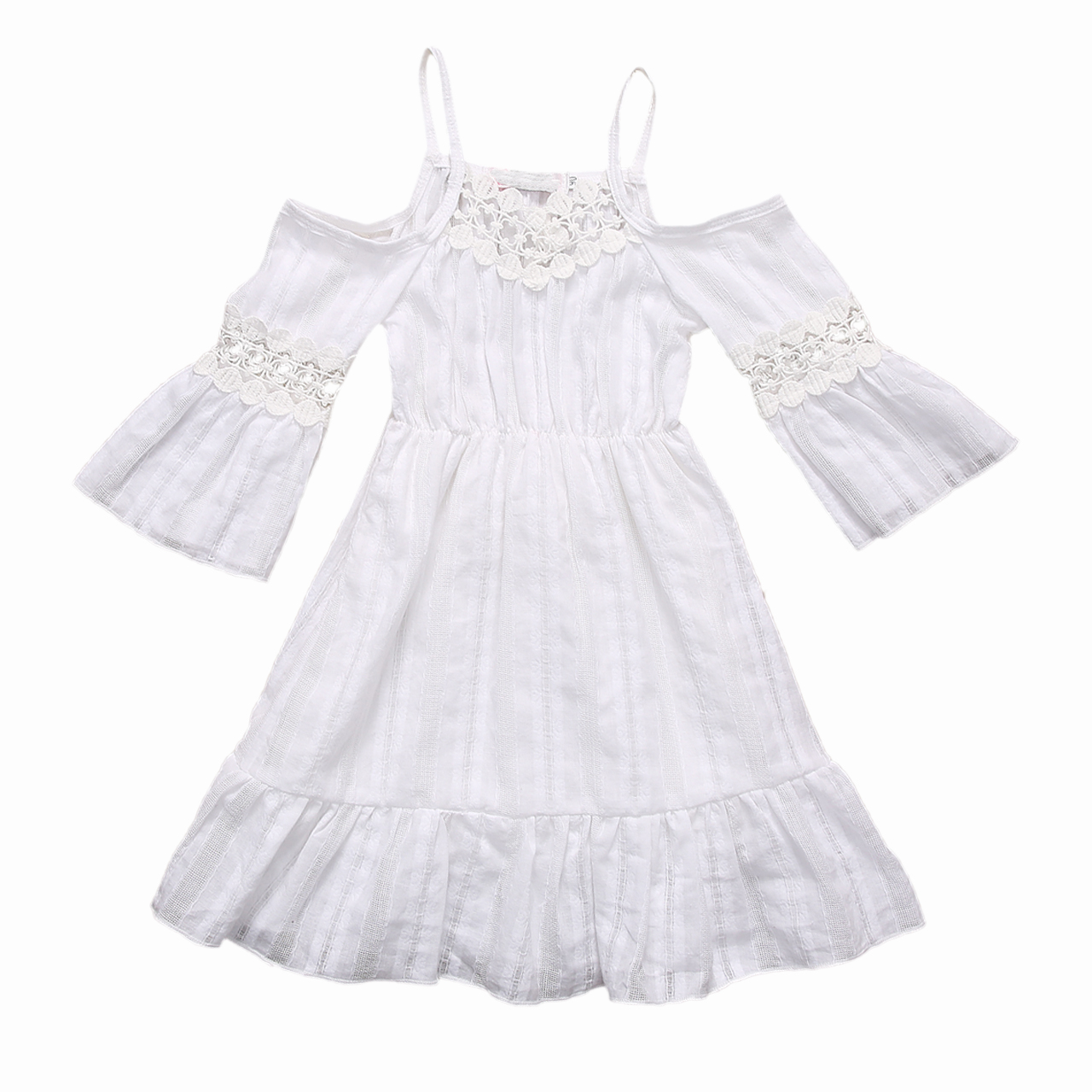 2017 Toddler Kids Baby Girl Summer Dress Off Shoulder White Lace Dress Princess Girls Long Dress Children Clothes 2-7Y fashion kids girls toddler baby lace princess party dress clothes 2 7y