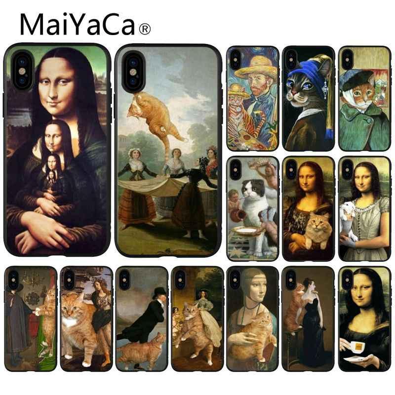 MaiYaCa Engraçado Leonardo da Vinci Mona Lisa Pat Gato Arte Da Caixa Do Telefone para o iPhone Da Apple 8 7 6 6 S mais X XS MAX 5 5S SE XR Casos Móveis