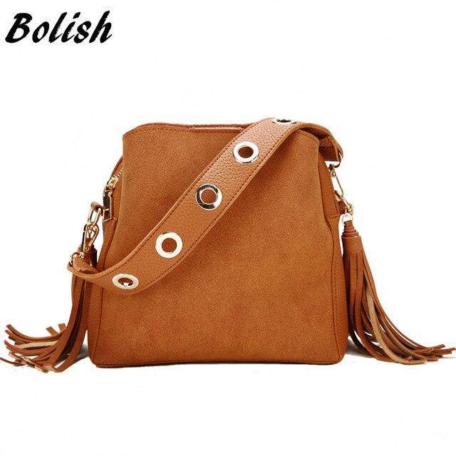 Bolish แฟชั่นผู้หญิง PU ไหล่กระเป๋าหญิง VINTAGE ทุกวันช้อปปิ้งกระเป๋าถืออเนกประสงค์พู่กระเป๋า Messenger Causal Dames Tassen