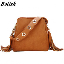 Bolish Women Fashion PU Shoulder Bag Female Vintage Daily Shopping Handbag All Purpose Tassel Messenger Bag Causal Dames Tassen