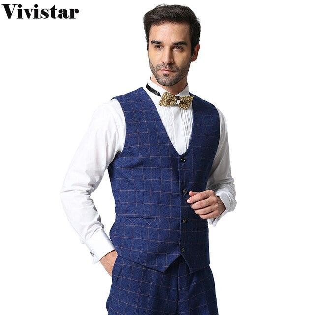(Only Vest ) High Quality Men Plaid Suit Vest 2016 New Arrival Slim Fit Fashion Brand Business Formal Vest F1600